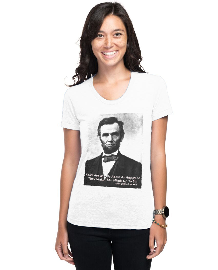 Abraham Lincoln Happiness Quote Women's Triblend Slim Fit Short Sleeve Tee