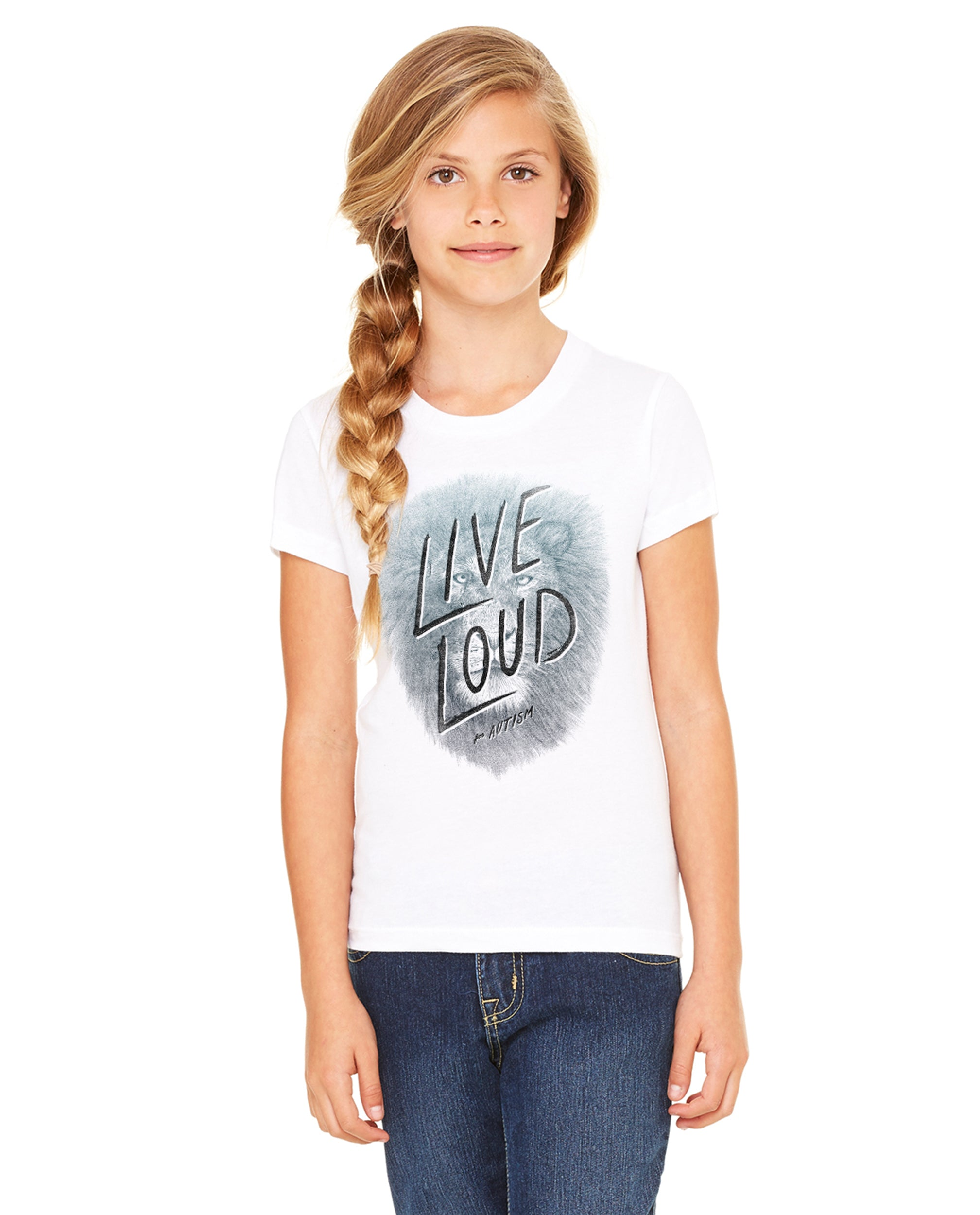 Live Loud Autism Lion Girls Premium Short Sleeve Crew