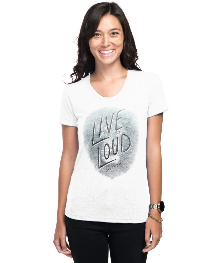 Live Loud Autism Lion Women's Triblend Slim Fit Short Sleeve Tee