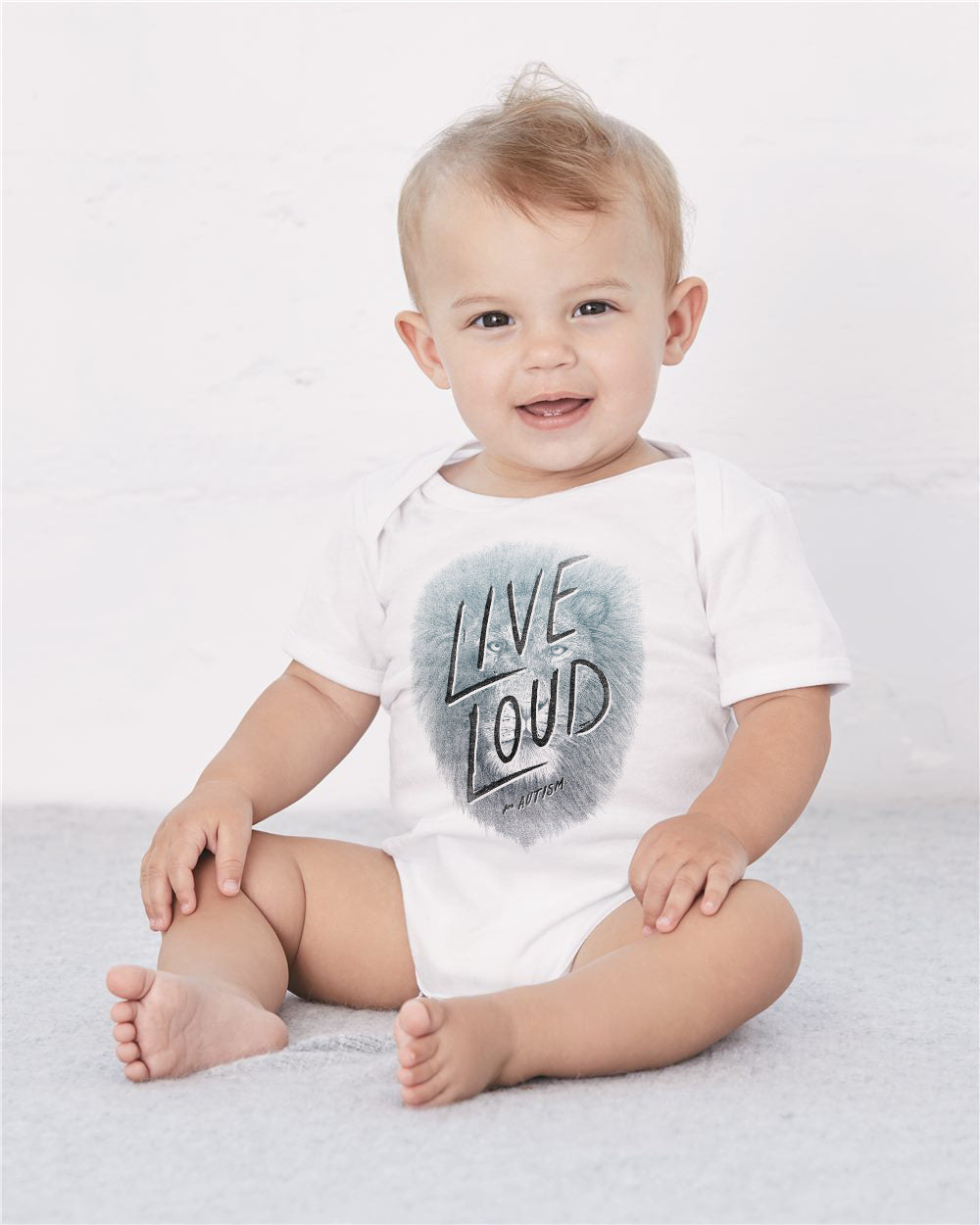 Live Loud Autism Lion Baby Cozy Graphic Tee Onesie in White