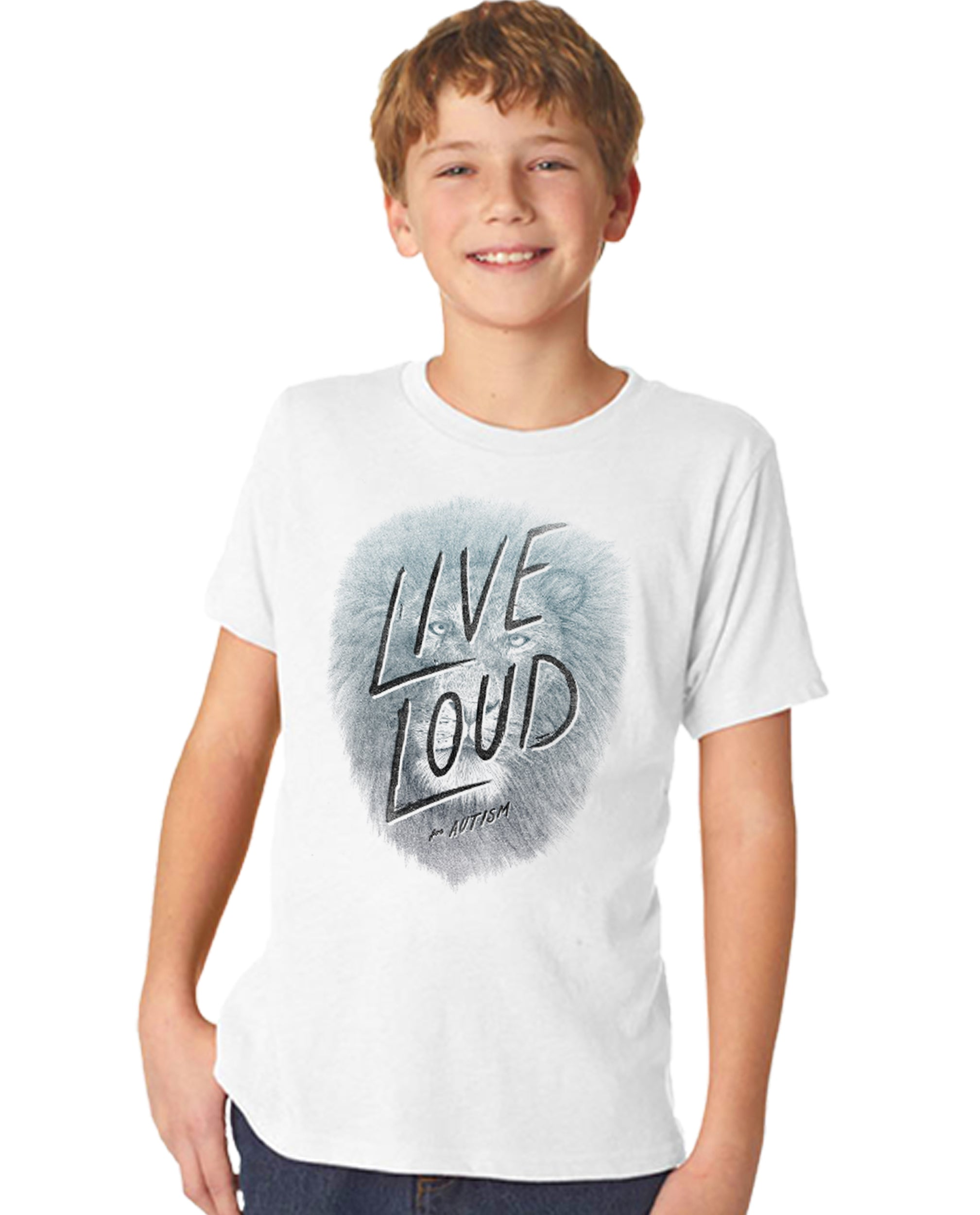 Live Loud Autism Lion Boy's Premium Short Sleeve Crew