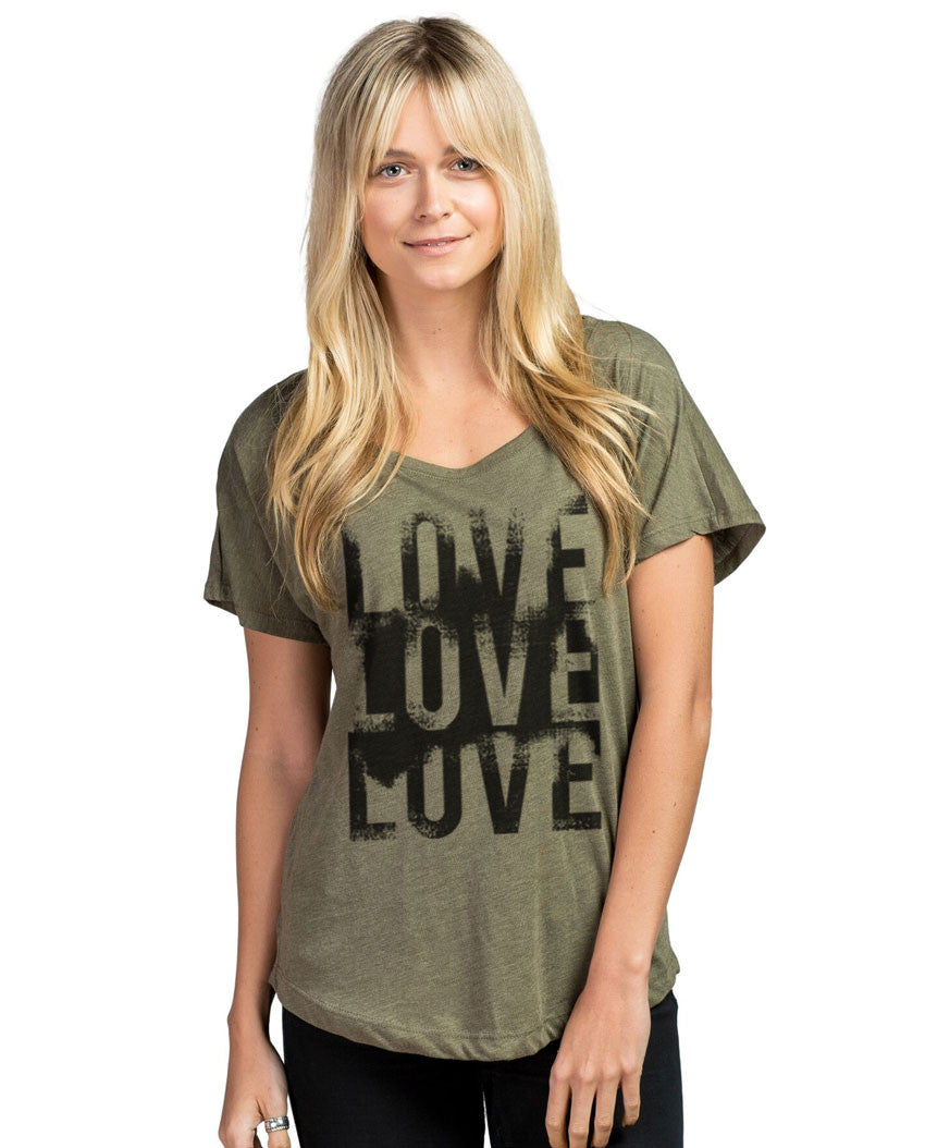 Love Love Love Womens Relaxed Flowy Dolman Poly Viscose
