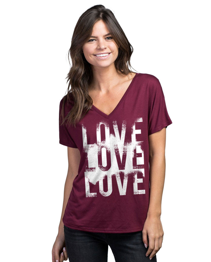 Love Love Love Womens Poly Viscose Flowy V Neck