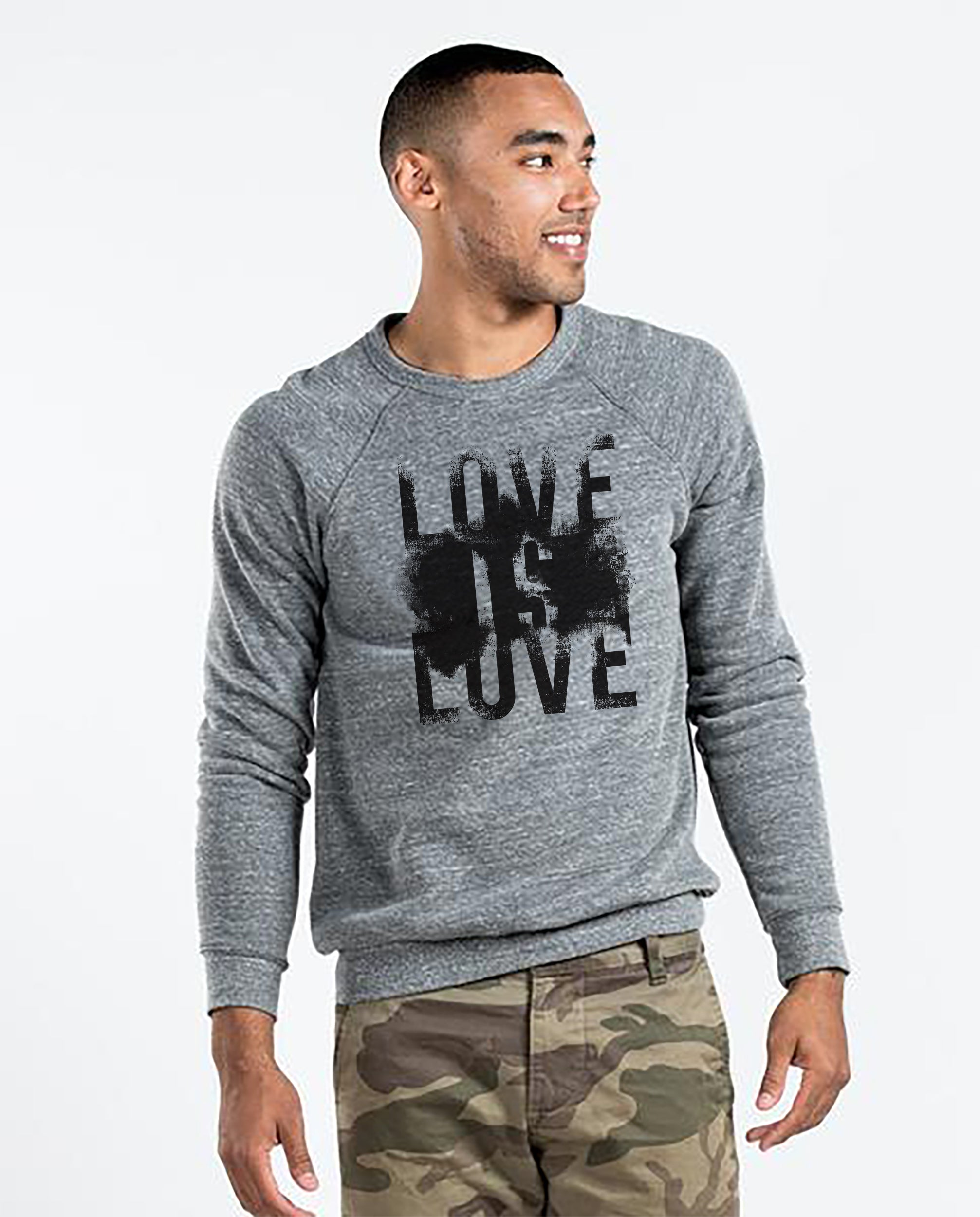 Love Is Love - Men's Premium Grey Crew Neck Sweatshirt