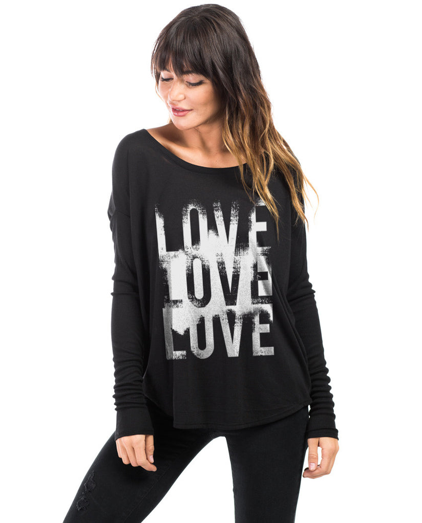Love Love Love Flowy Long Sleeve Tee
