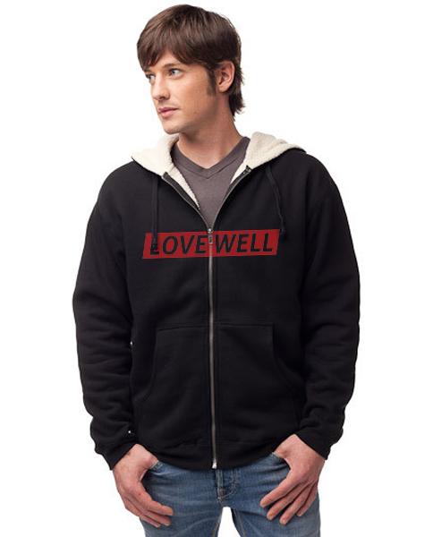 LOVE WELL - Men's Sherpa Lined Full Zip Hoodie