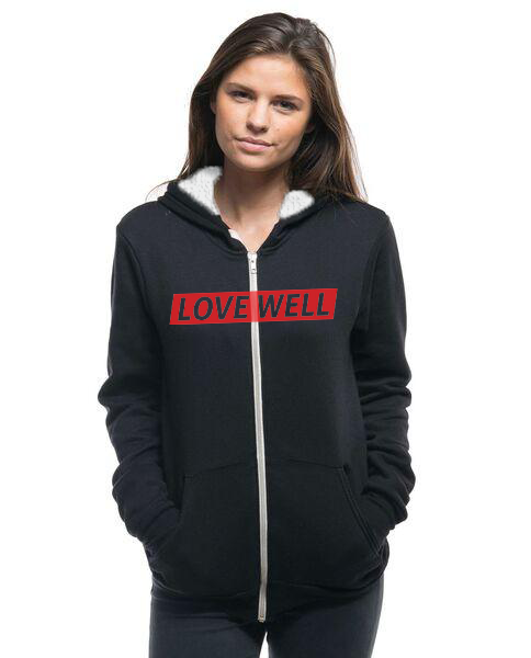 LOVE WELL - Womens Sherpa Lined Full Zip Hoodie