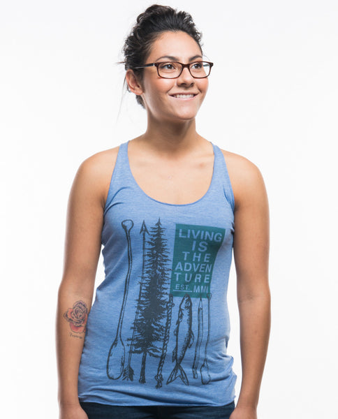 Living Is The Adventure Triblend Racerback Tank