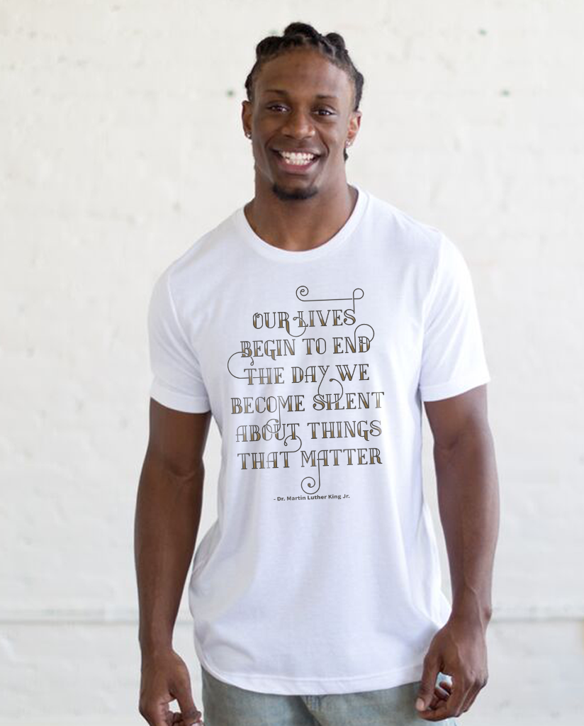 MLK Our Lives Begin Quote - Men's Triblend White Short Sleeve Tee