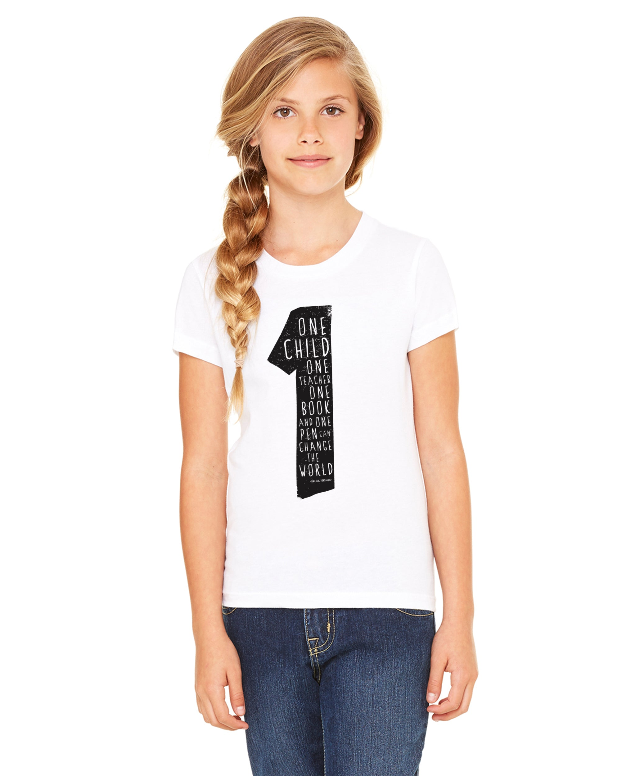 Malala Quote Girls Premium Short Sleeve Crew