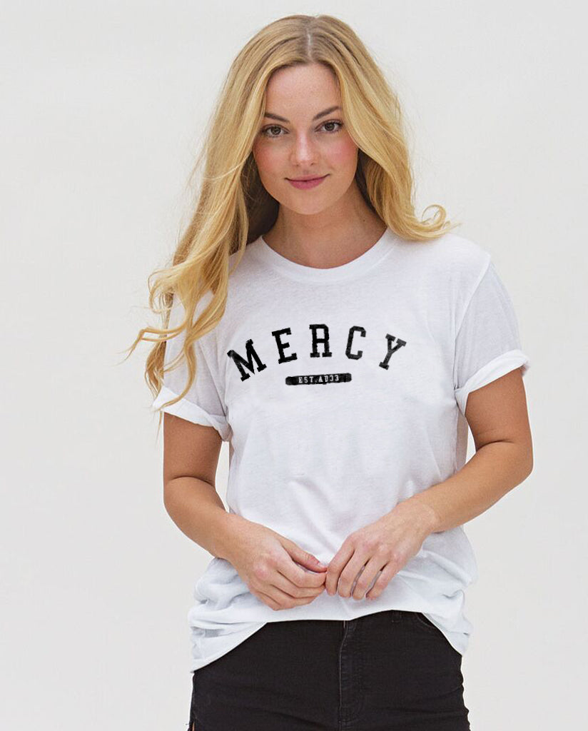 Mercy -  White Unisex Cotton Short Sleeve Classic Fit Crewneck Tee