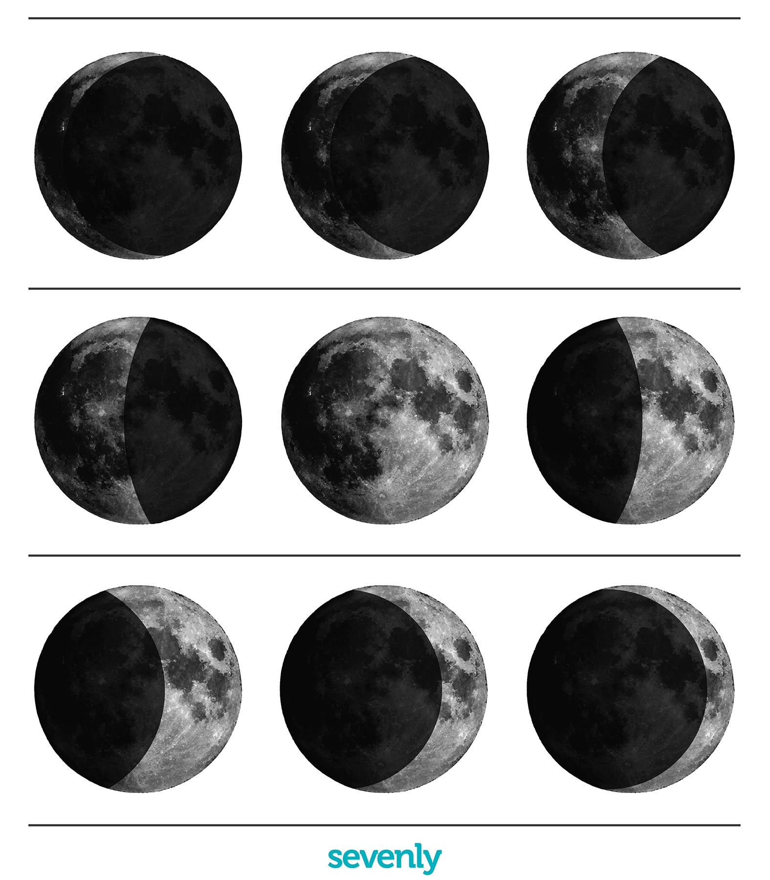 SEVENLY  HOME GOODS - COTTON CANVAS DOWN THROW PILLOW - MOON PHASES