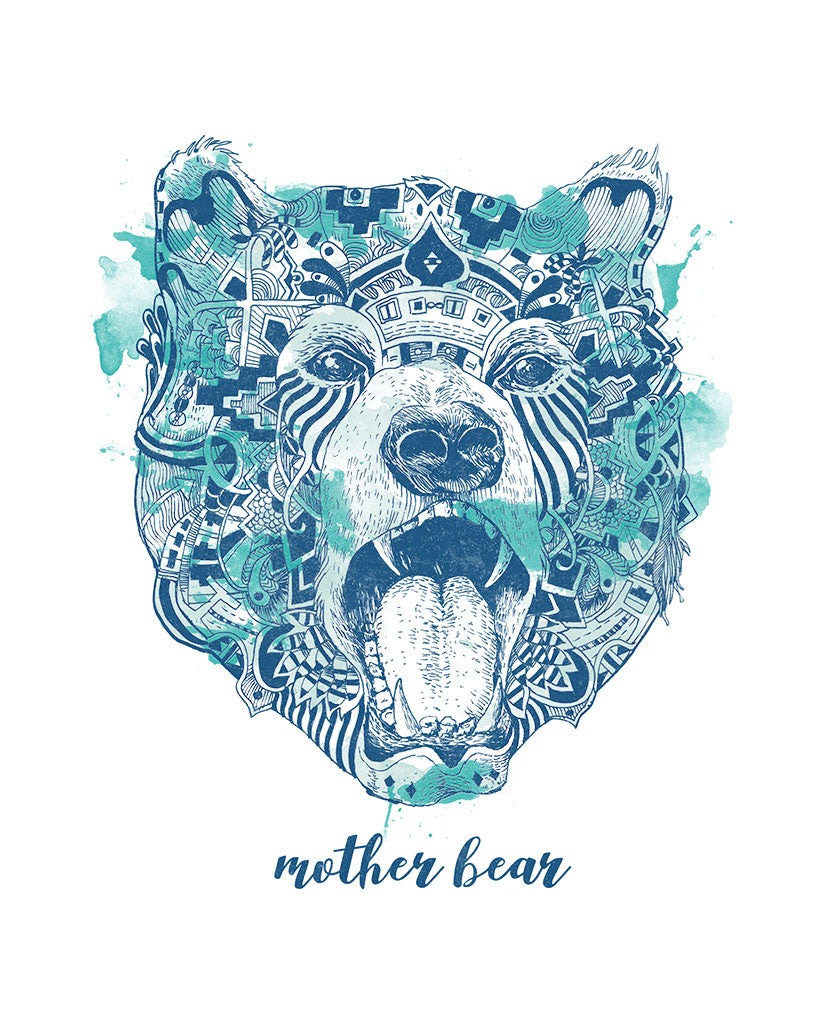 Mother Bear Womens Flowy Raglan
