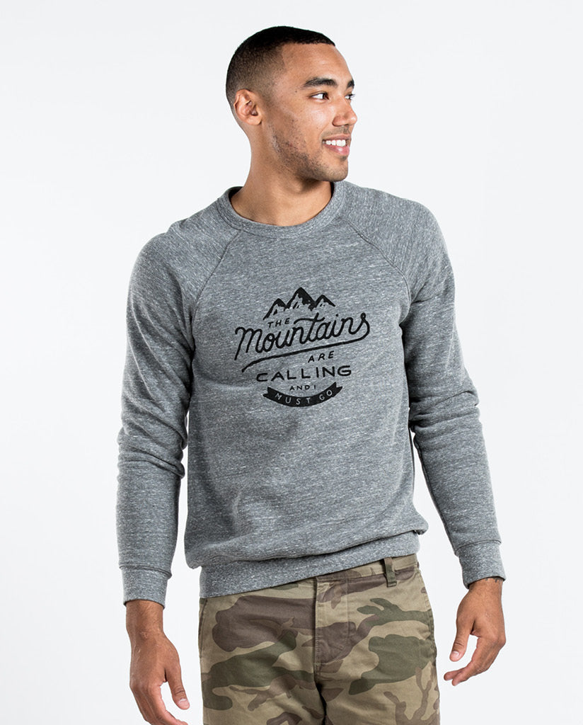 Environment - MOUNTAINS ARE CALLING - Men's Premium Grey Crew Neck Sweatshirt