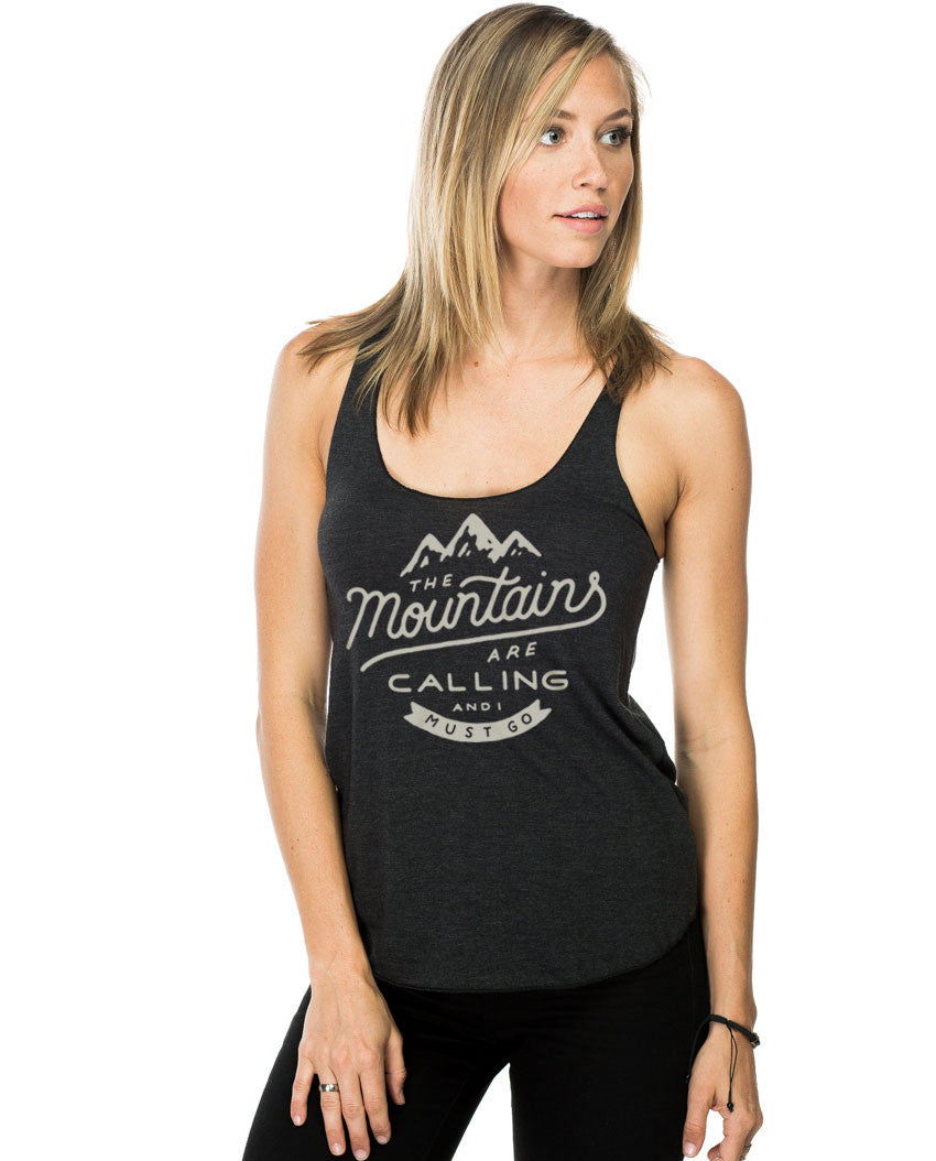 The Mountains Are Calling Fitted Racerback Tank
