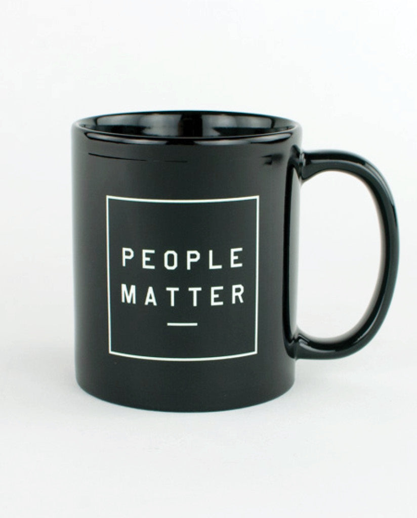 PEOPLE MATTER Black Breakfast Mug
