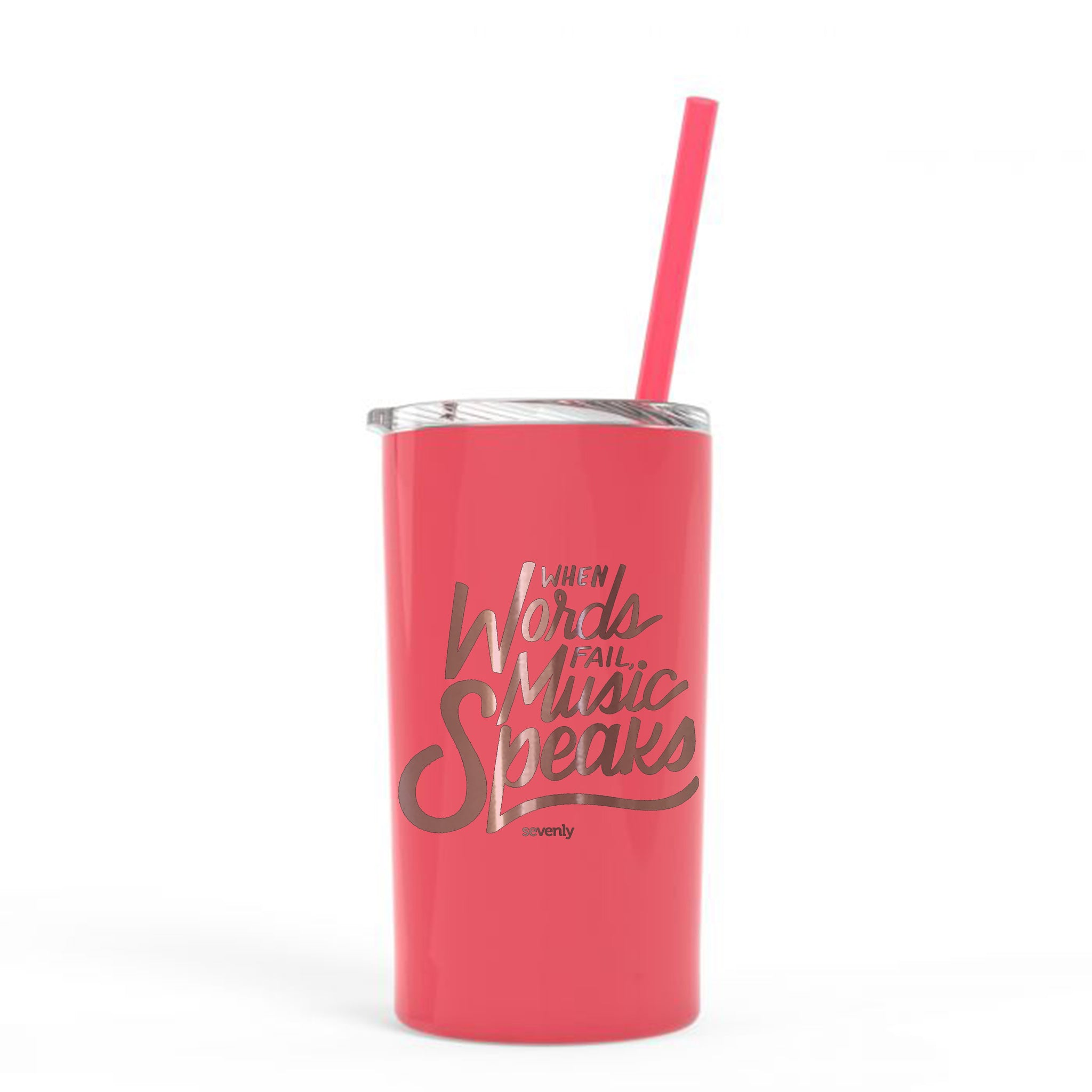 When Words Fail Music Speaks - Super Slim 12 Ounce Stainless Steel Insulated Tumbler With Straw