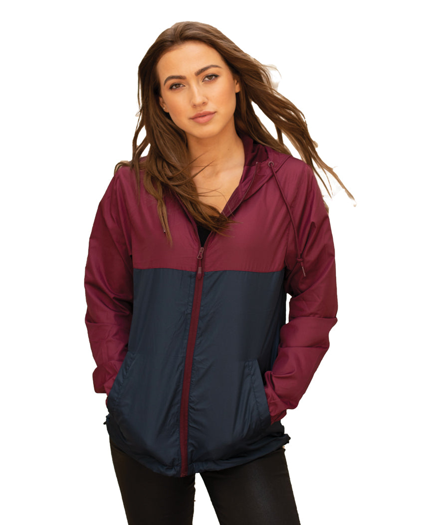 Lightweight Packable Water-resistant Unisex Full Zip Hooded Windbreaker