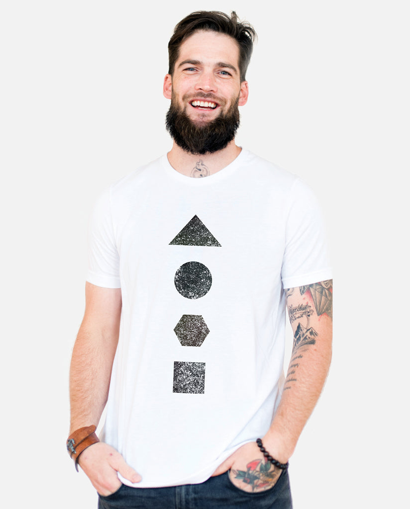 ELEMENTS OF THE EARTH Mens White Premium Fitted Tee