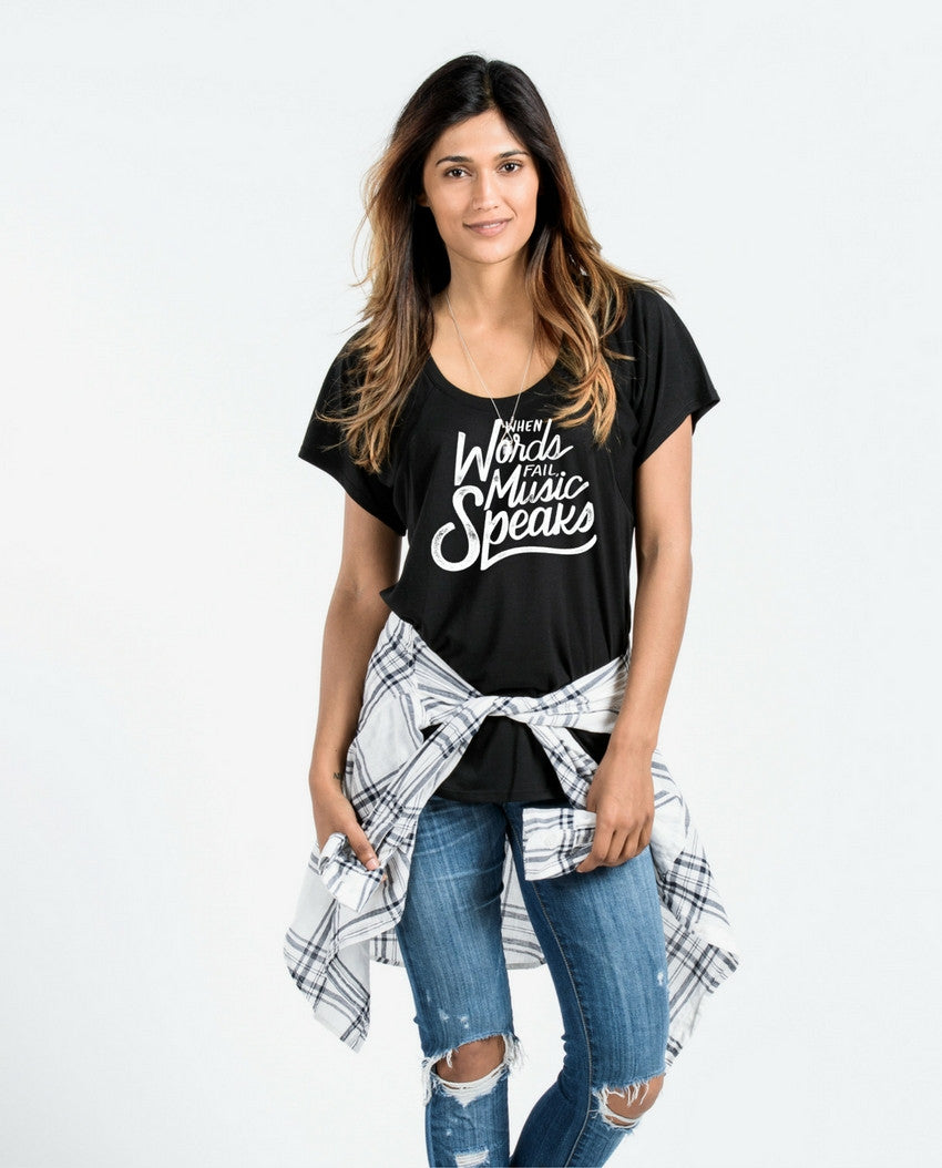 When Words Fail Music Speaks Women's Premium Flowy Raglan