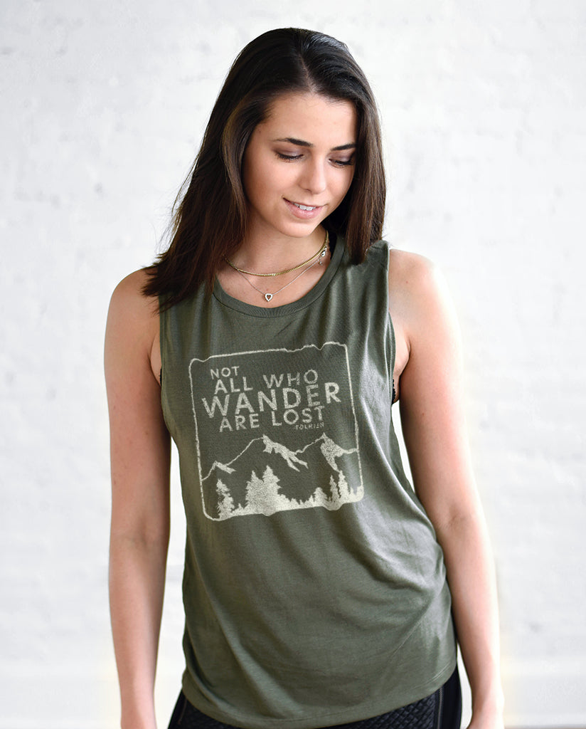 Not All Who Wander Are Lost Womens Green Muscle Tank