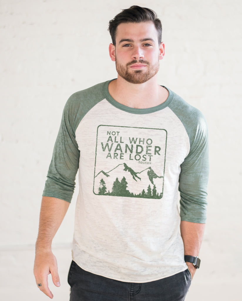 Not All Who Wander Are Lost Unisex Green Burnout Baseball T-Shirt