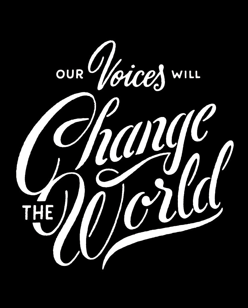 OUR VOICES WILL CHANGE THE WORLD Unisex Red Eco-Jersey Football T-Shirt