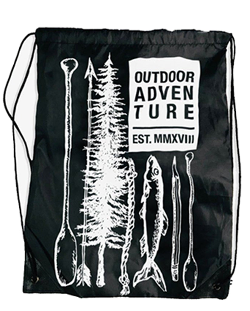 Outdoor Adventure - Unisex Black Drawstring Backpack