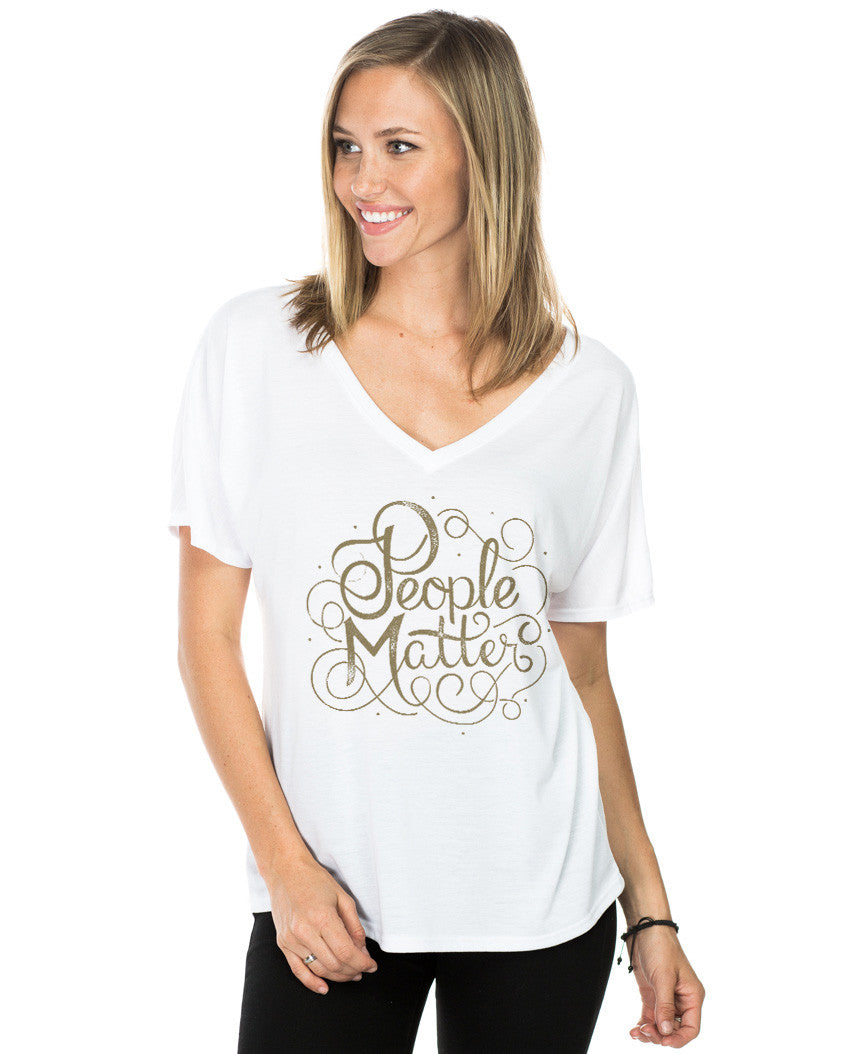 People Matter Script Flowy V Neck