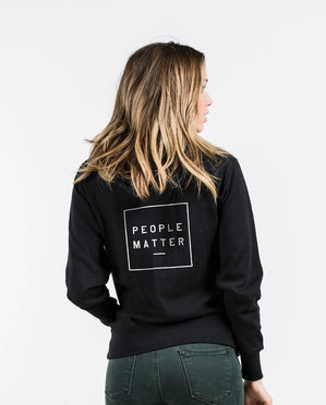 PEOPLE MATTER Black Unisex Full Zip Hoodie