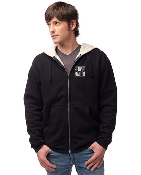 PEOPLE MATTER - Embroidered Men's Sherpa Lined Full Zip Hoodie