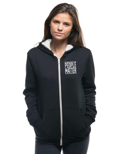 PEOPLE MATTER - Embroidered Womens Sherpa Lined Full Zip Hoodie