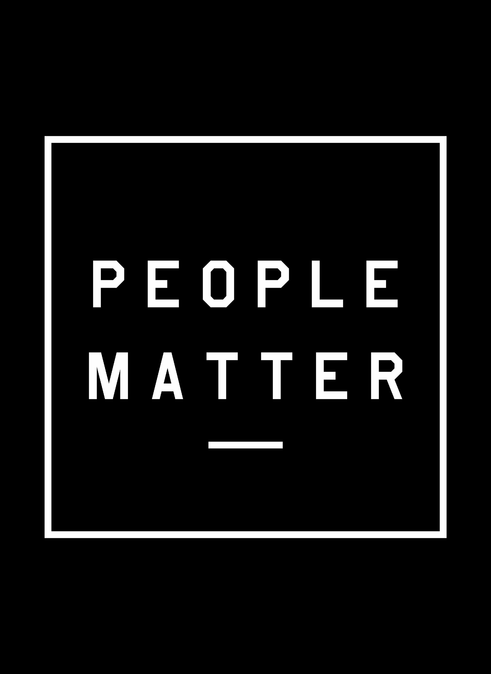 PEOPLE MATTER - Unisex Black Cotton Poly Full Zip Hoodie