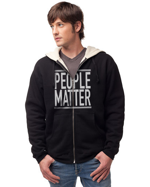 PEOPLE MATTER - Men's Sherpa Lined Full Zip Hoodie