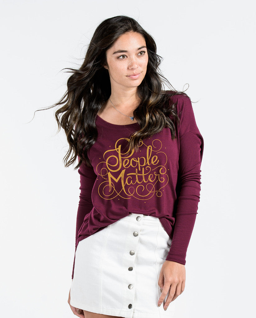 People Matter Script Flowy Long Sleeve Tee