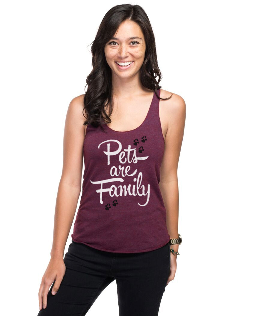 Pets Are Family Women's Premium Triblend Racerback Tank