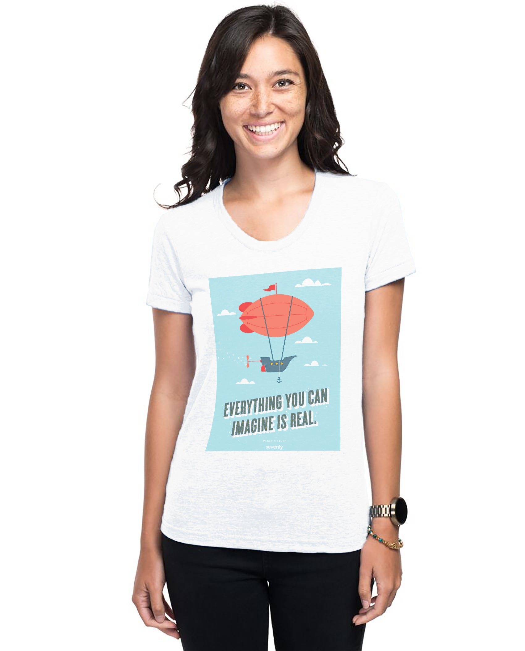 Picasso Airship Women's Triblend Slim Fit Short Sleeve Tee