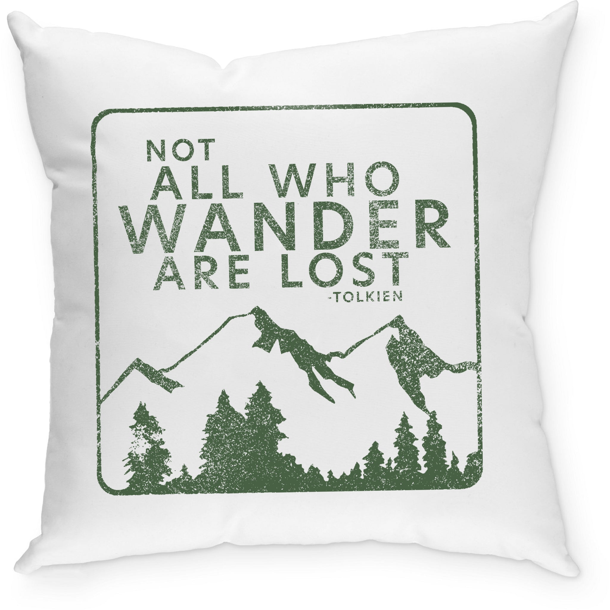 Sevenly - Cotton Canvas Down Throw Pillow - Not All Who Wander Are Lost