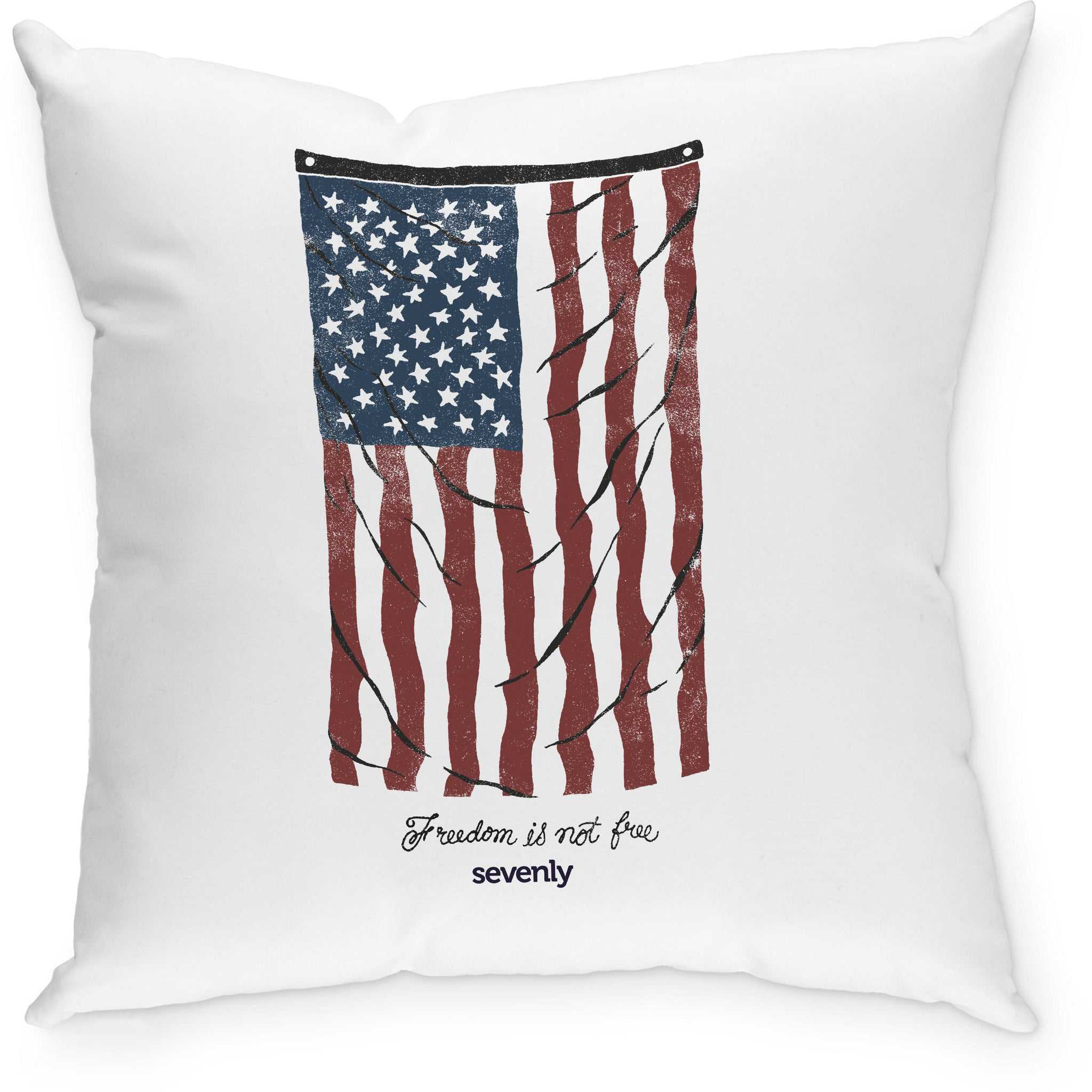 SEVENLY HOME GOODS - COTTON CANVAS THROW PILLOW - VINTAGE FLAG