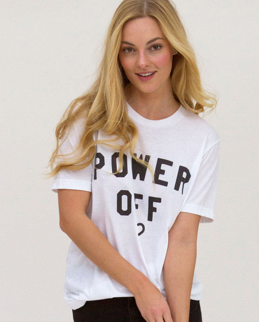 POWER OFF Unisex White Tri-blend Short Sleeve Tee by Tech Wellness