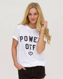 POWER OFF Unisex White Triblend Short Sleeve Tee