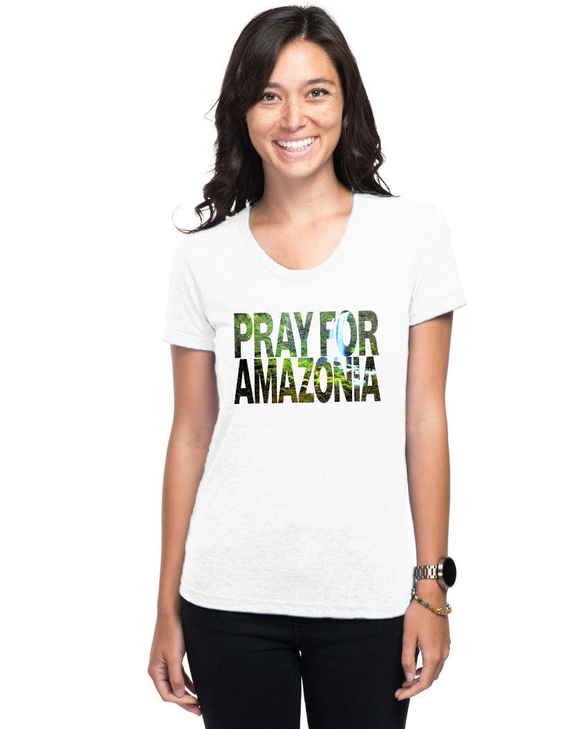Pray For Amazonia Women's Triblend Slim Fit Short Sleeve Tee