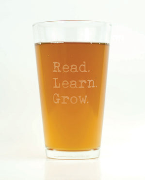 Hand-Etched, Limited Edition READ LEARN GROW Glassware