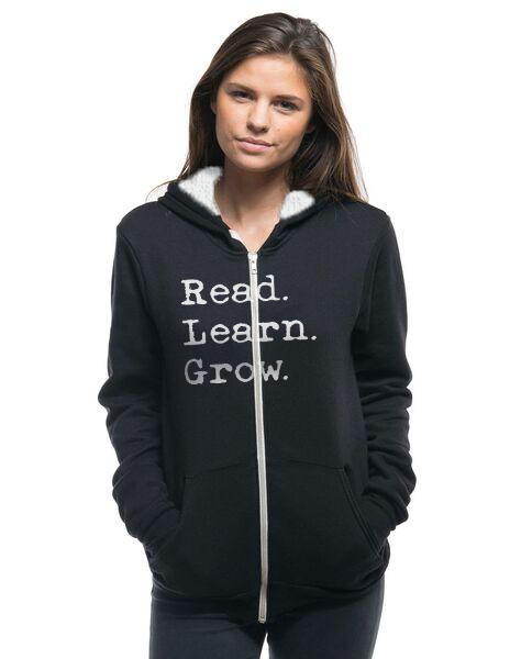 READ LEARN GROW - Women's Sherpa Lined Full Zip Hoodie