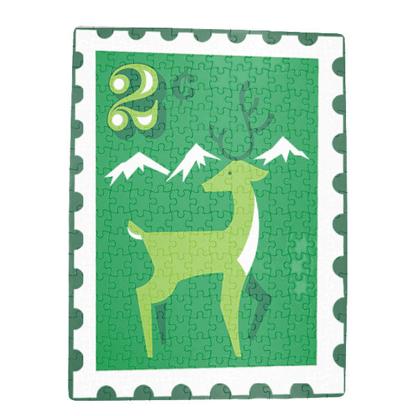 Reindeer Stamp Christmas Art Jigsaw Puzzle