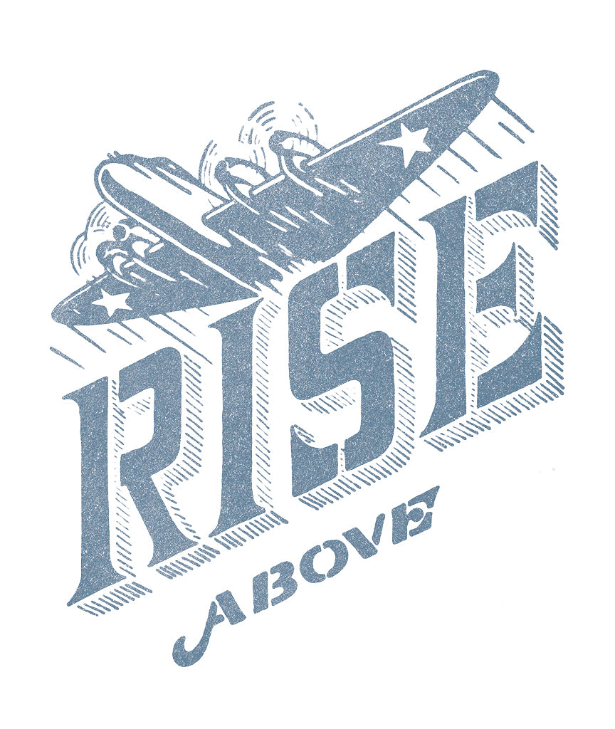 RISE ABOVE Mens Blue Premium Fitted Tee