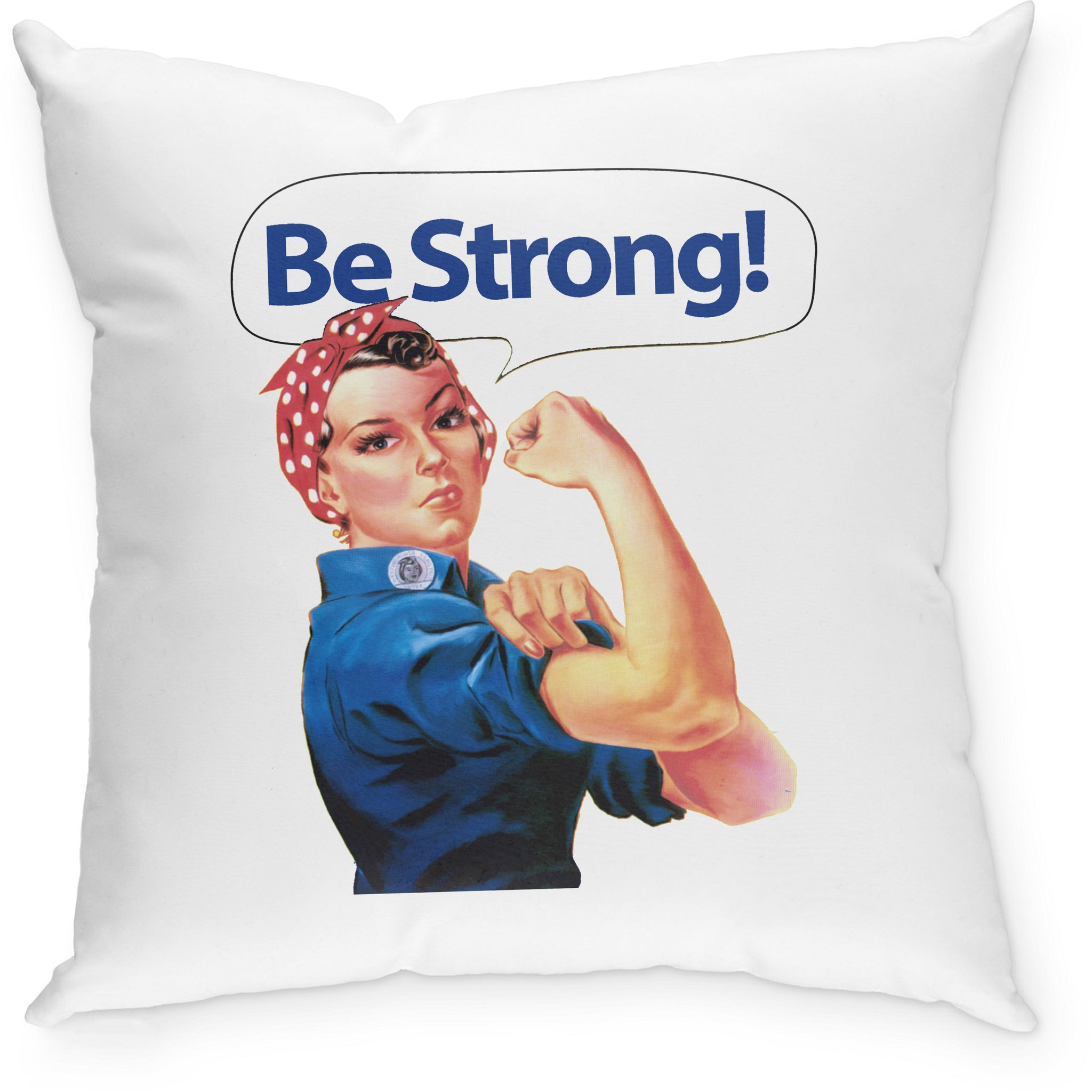 SEVENLY HOME GOODS - COTTON CANVAS THROW PILLOW - RIVET ROSIE BE STRONG