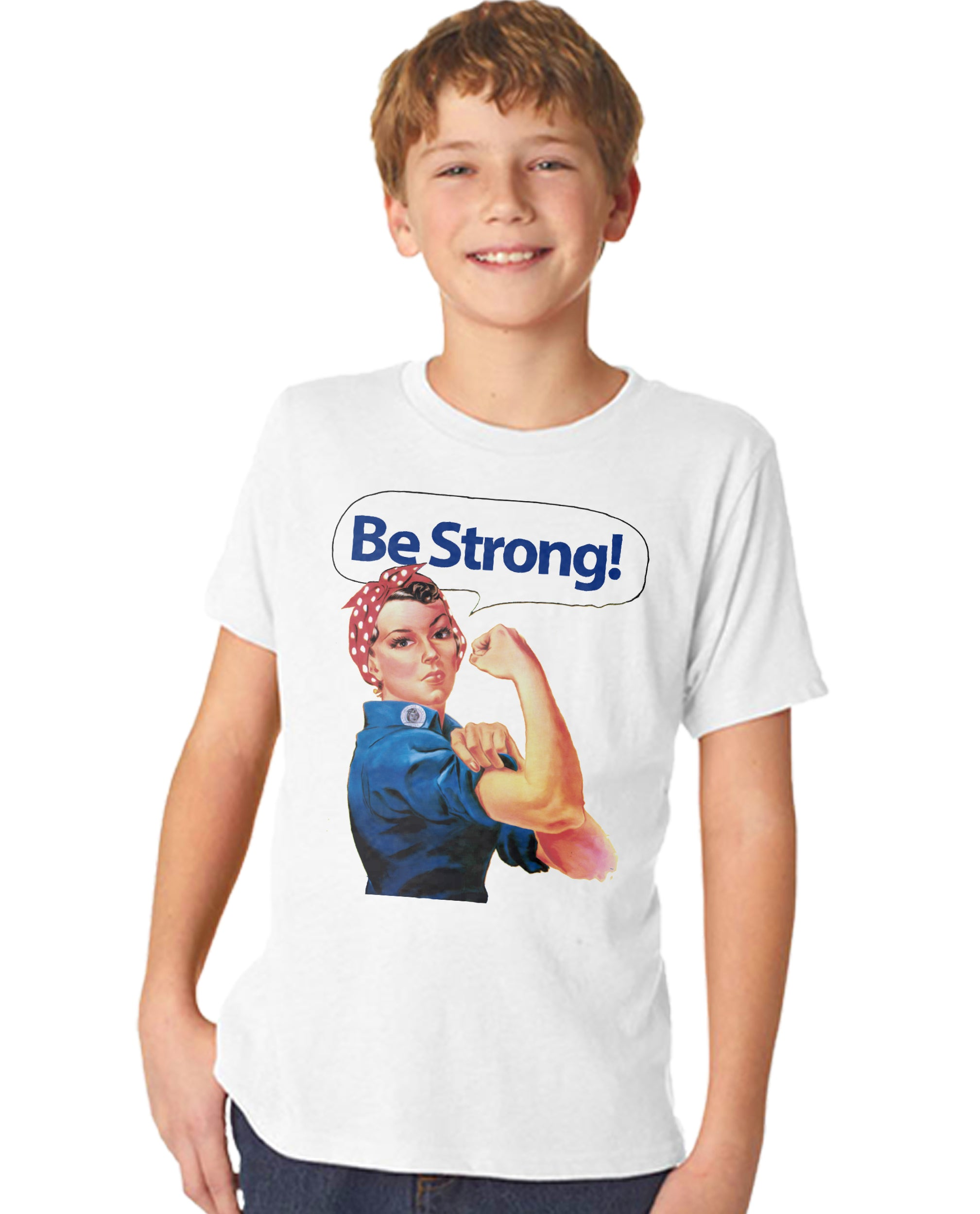 Rivet Rosie Be Strong Boy's Premium Short Sleeve Crew