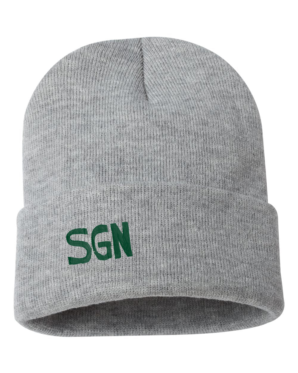 "SGN Some Good News Embroidered Logo Ribbed 12"" Inch Acrylic Knit Beanie"