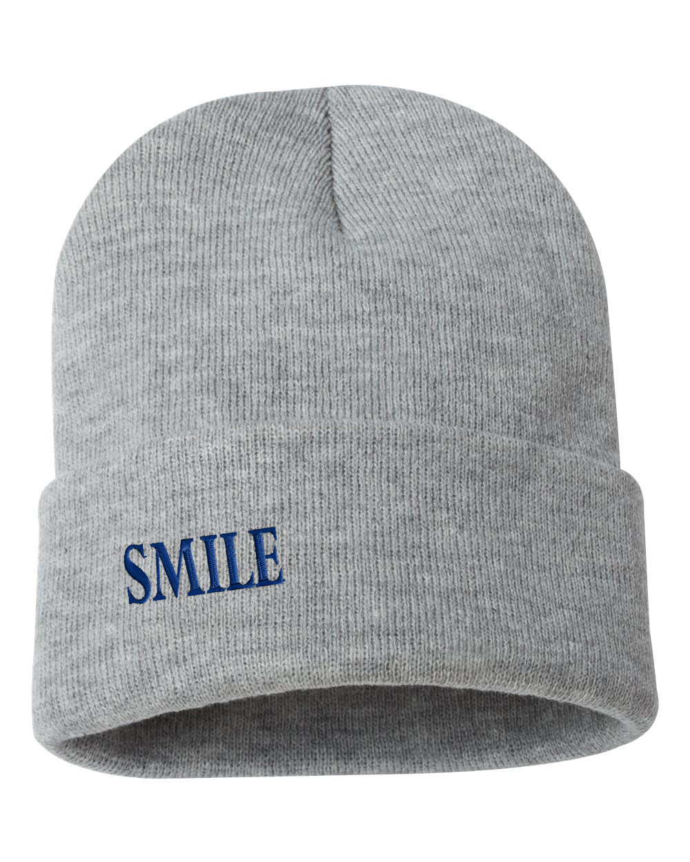 "SMILE Embroidered Ribbed 12"" Inch Acrylic Knit Beanie"